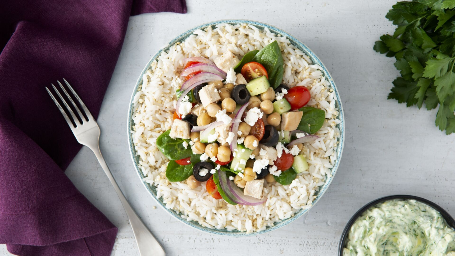 Jasmine Rice Greek Power Bowl
