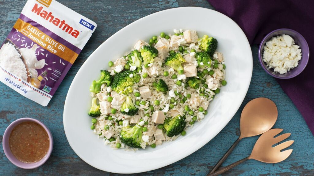 Green Jasmine Rice Salad with Rotisserie Chicken, Broccoli, and cheese