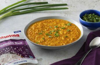 Pumpkin Jasmine Rice Soup with Coconut Milk