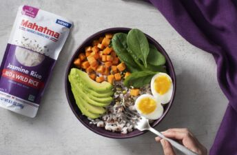 Turmeric Breakfast Jasmine Rice Bowl with Quinoa, Sweet Potatoes, Avocado and Hard-Boiled Eggs