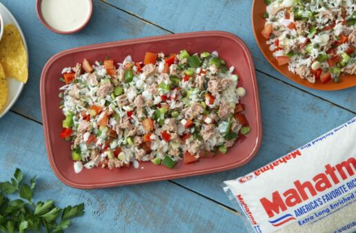 Canned Tuna and White Rice salad with zesty mayonnaise dressing and fresh bell peppers