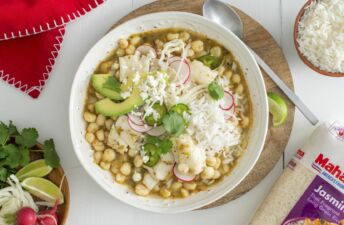 Green Pozole with Fish, avocado, salsa verde and Jasmine Rice