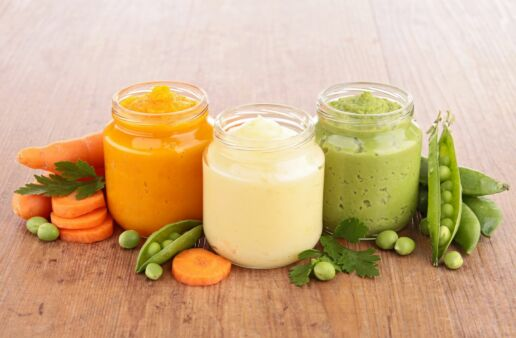 Rice puree jars with carrots, and peas