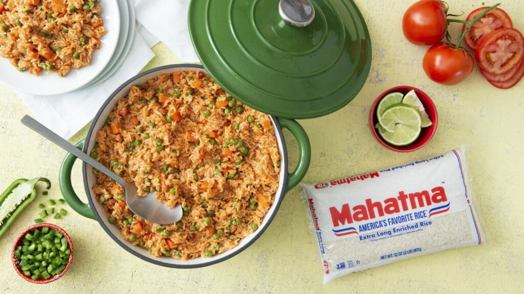 Traditional Mexican Rice made with White Rice, Peas and Tomatoes