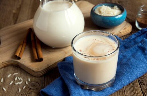 Mexican Horchata with cinnamon and milk