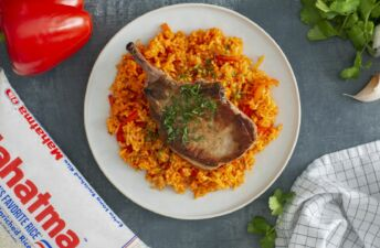 Key West Pork Chops served over rice