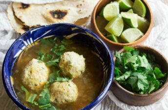 Chicken Albondigas Soup with cilantro and lime