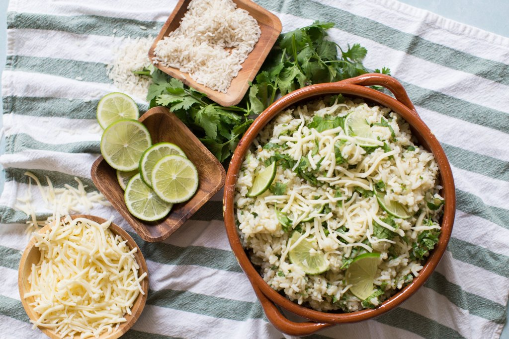 Creamy Arroz verde, green rice dish