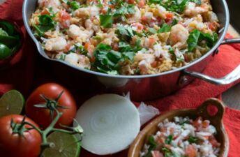 Oven-baked Shrimp Pico Rice Skillet