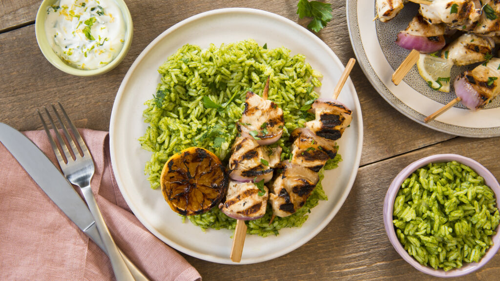 Garlic and Lemon Chicken kebab skewers with green jasmine rice