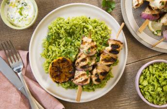 Garlic and Lemon Chicken kebab skewers with green jasmine rice