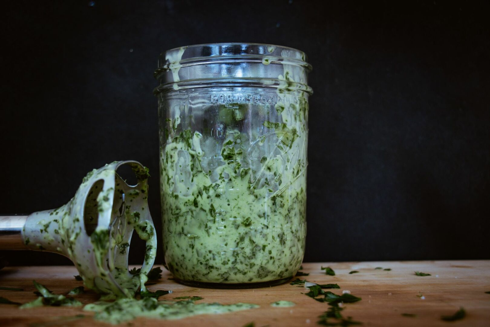 mixed chimichurri with blender
