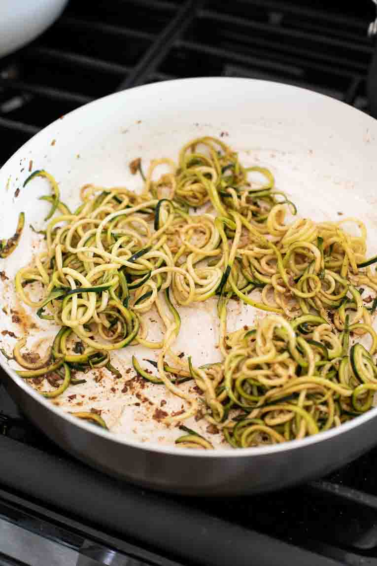 sauteeing spiralized zucchini noodles