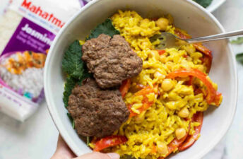 beef curry rice burger bowl
