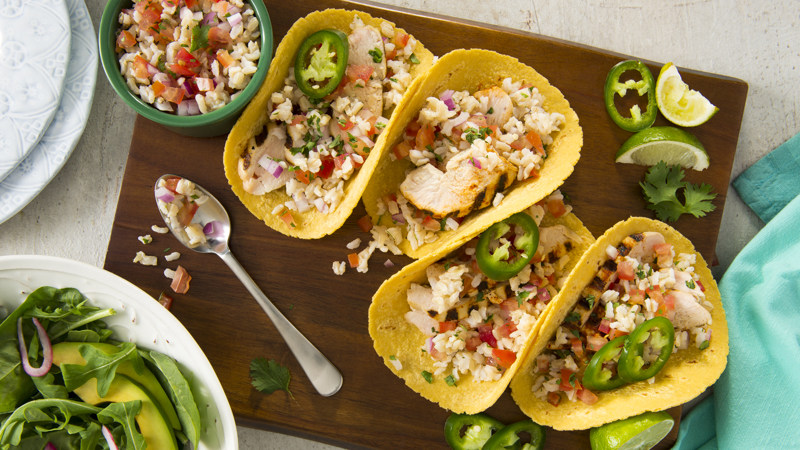 Grilled Chicken Tacos with Brown Rice Salsa