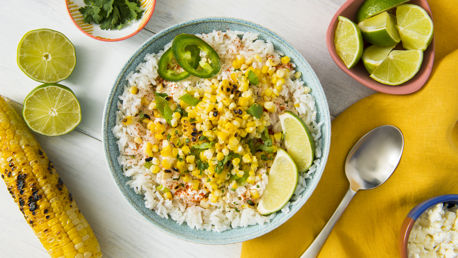 Grilled Street Corn and Rice