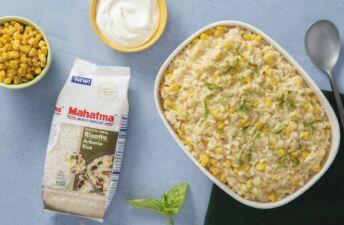 Creamy-fresh-corn-risotto-with-arborio-rice