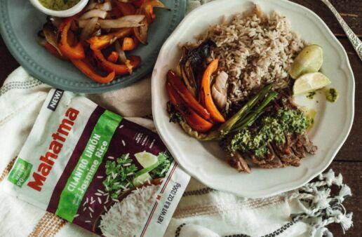 Steak fajitas with cilantro lime rice