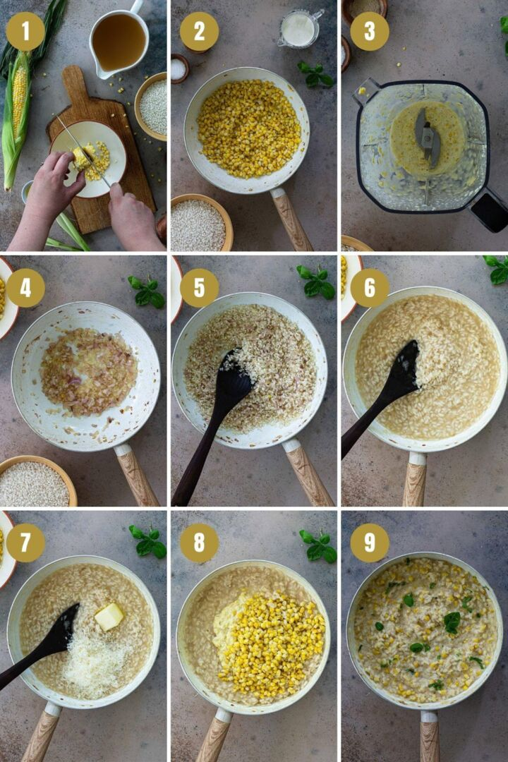 instructions for sweet corn risotto
