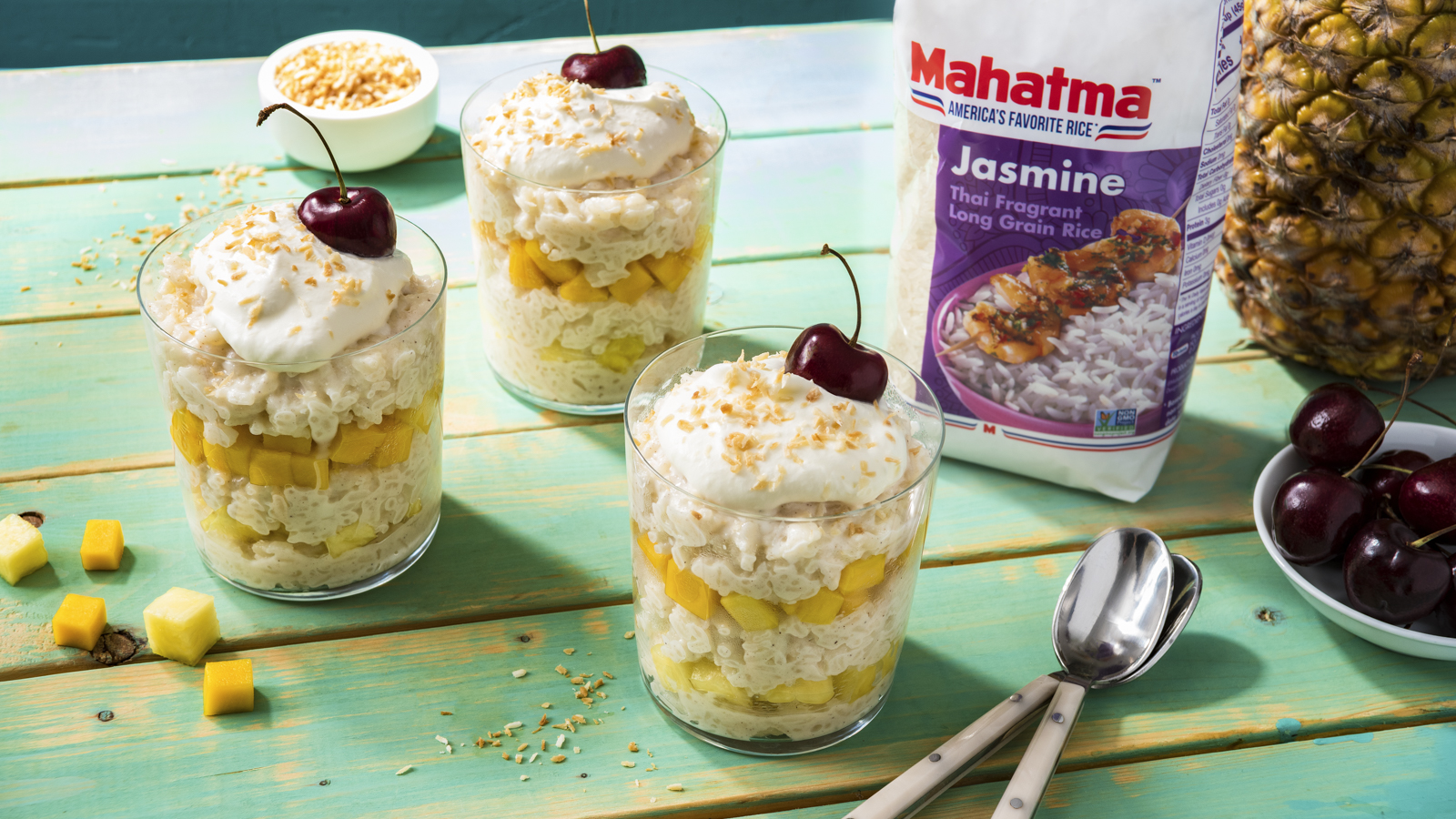 Pineapple and Mango Rice Pudding Parfaits