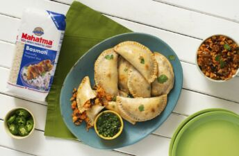 Empanadas-with-chorizo-beans-and-basmati-rice