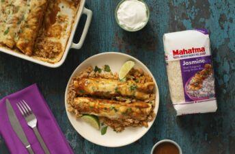 Chicken-enchiladas-with-jasmine-rice-