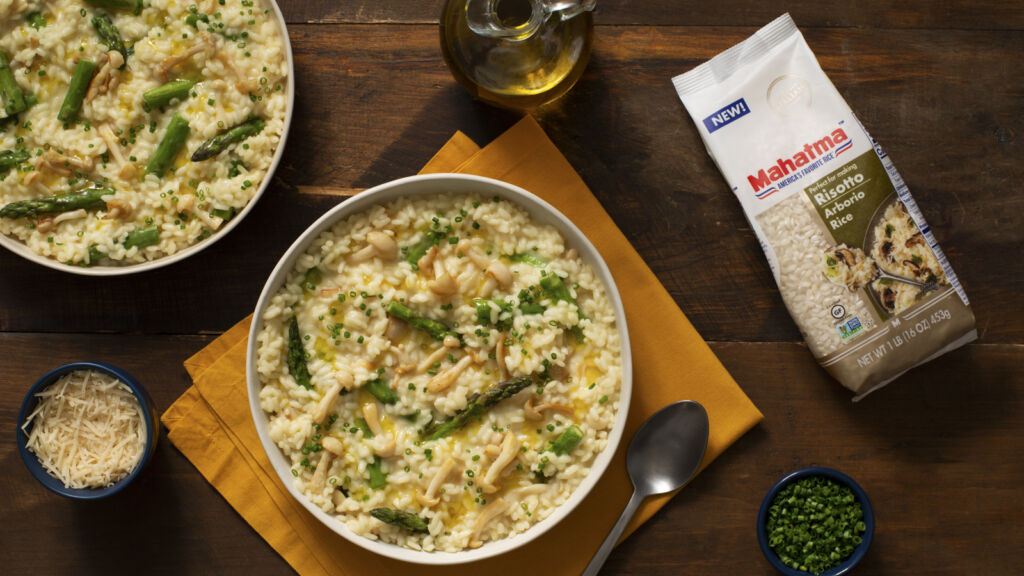 Truffle oil risotto with mushrooms and Parmesan