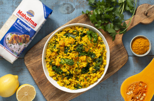 Turmeric yellow rice with butternut squash and kale