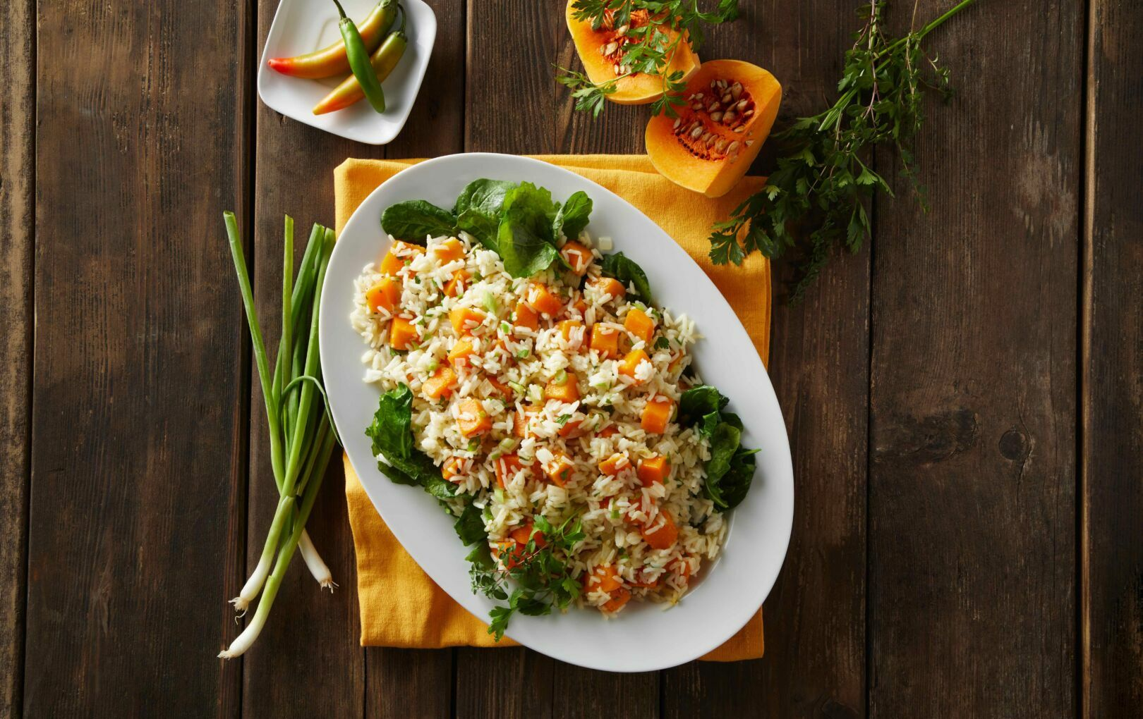 Butternut Squash, Green Onion, and Serrano Jasmine Rice