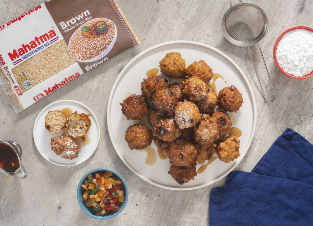 christmas-cake-rice-fritters-with-mahatma-brown-rice-and-rum-syrup