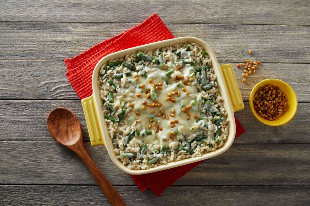 green-bean-casserole-with-white-rice-and-pine-nuts