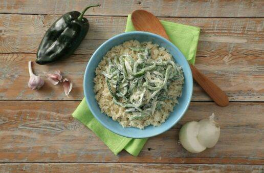 creamy-rice-with-poblano-strips-garlic-onion-mexican-cream-and-parboiled-rice
