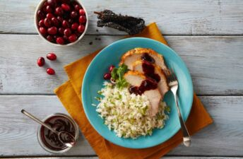 cranberry-sauce-with-ancho-peppers-served-over-jasmine-rice-and-turkey-leftovers