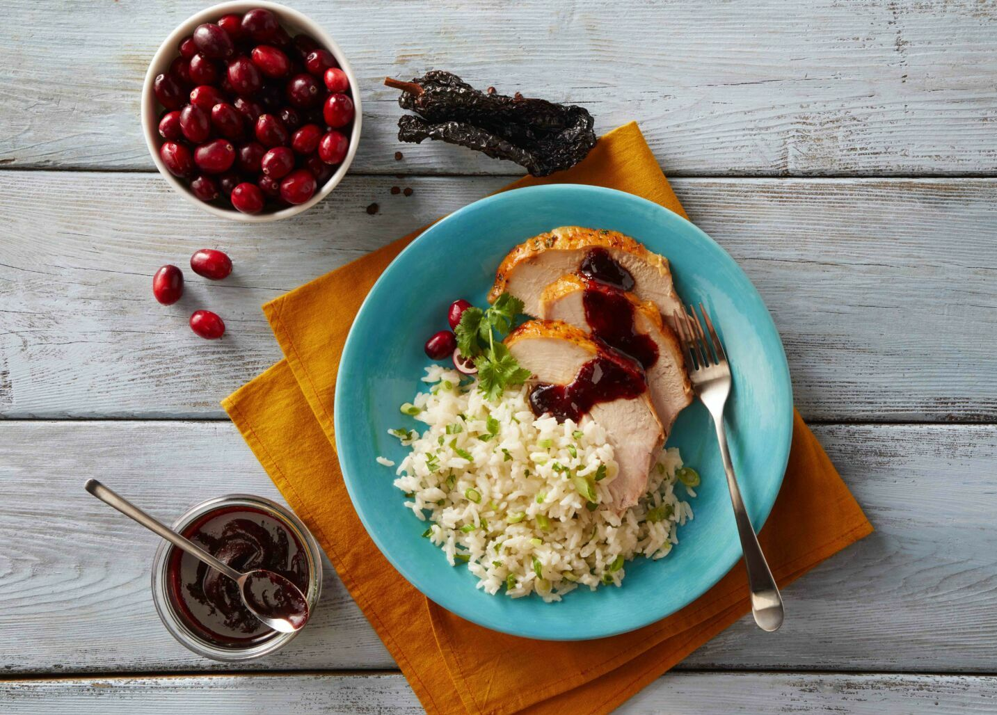 Rice with Cranberry-Ancho Sauce
