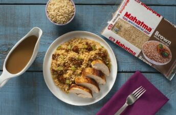 stuffing-casserole-with-brown-rice-chorizo-and-mushroom-served-with-roast-chicken