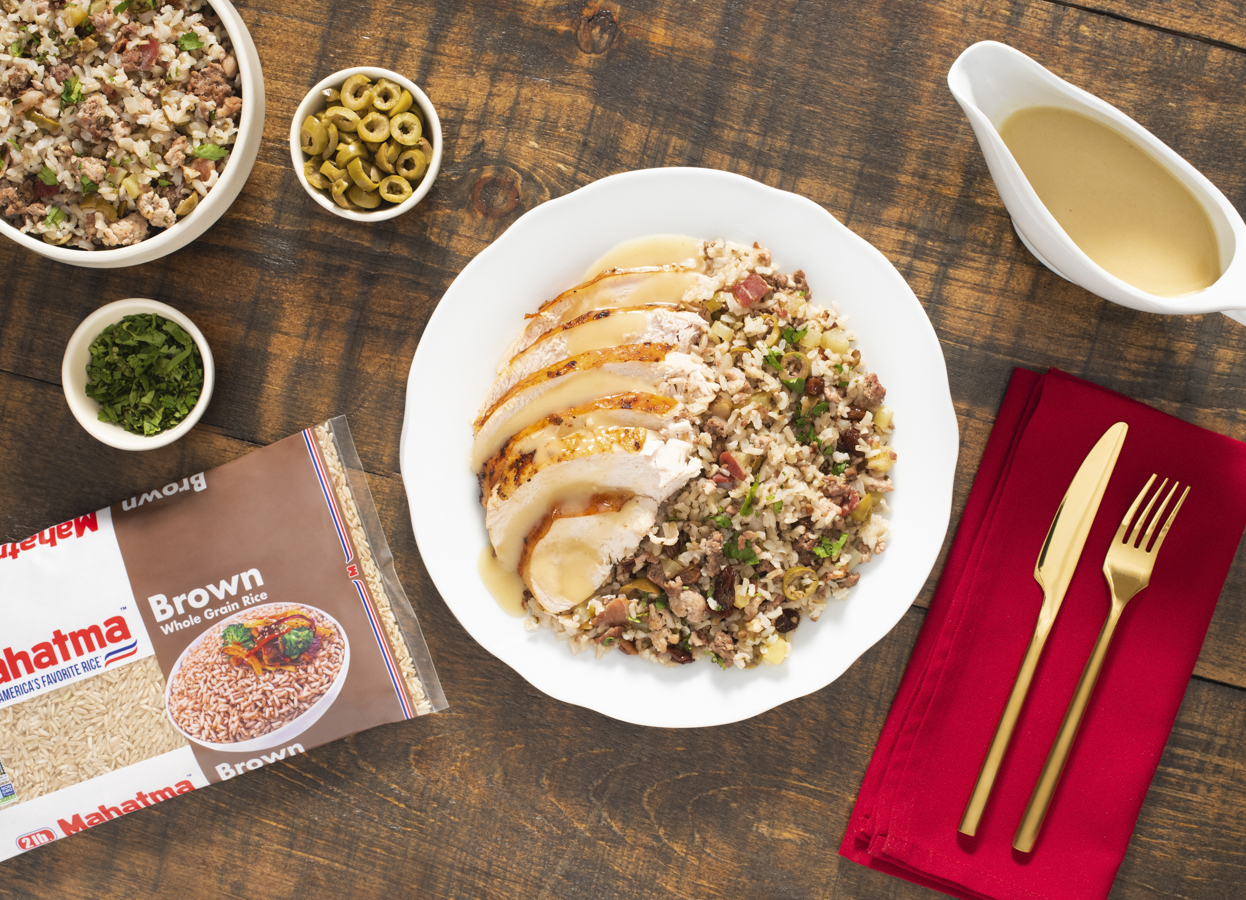 Brown Rice Stuffing with Roasted Turkey