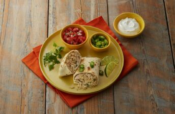 Turkey-and-cilantro-lime-rice-burritos-with-jalapeños-and-tomatoes