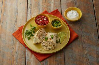 Turkey-and-cilantro-lime-rice-burritos-with-jalapeños-and-tomatoes
