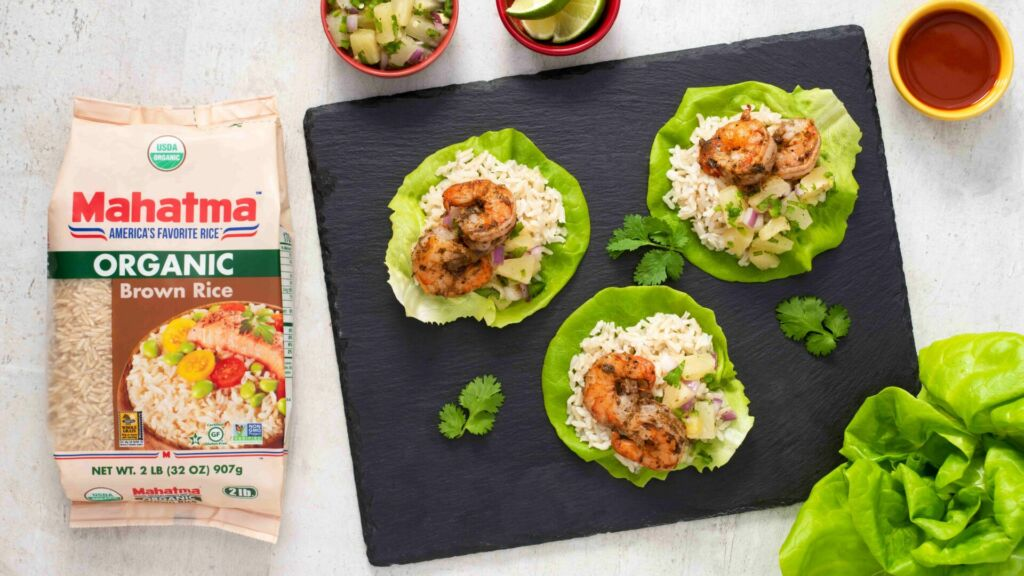 lettuce-wraps-with-organic-brown-rice-jerk-shrimp-and-pineapple-salsa