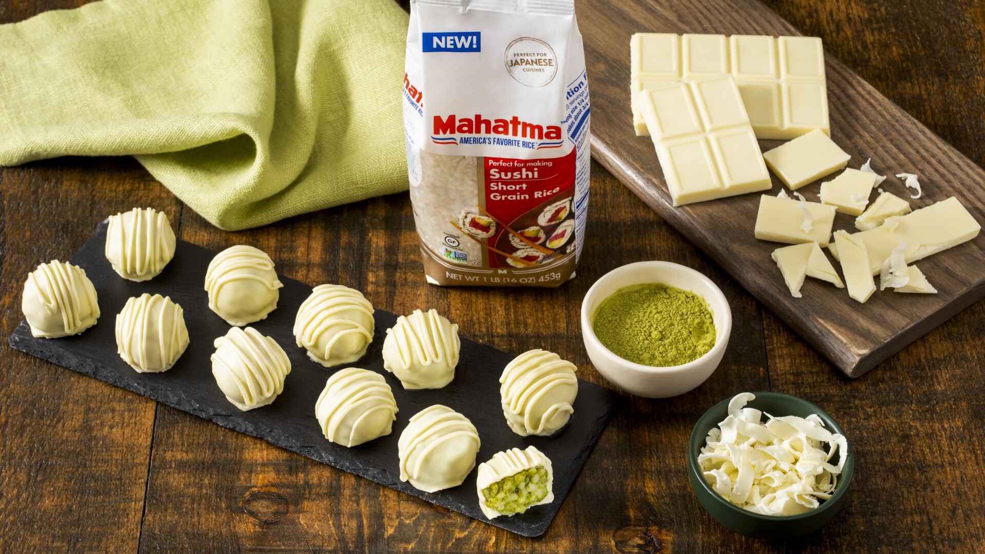 Matcha Green Tea and White Chocolate Rice Truffles