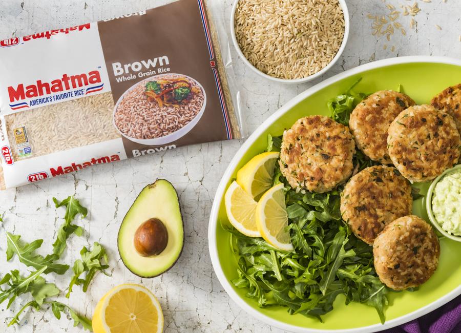Brown Rice Tuna Patties with Avocado Mayo