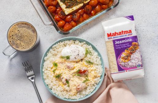 Jasmine-rice-with-feta-cheese-roma-tomatoes-greek-yogurt-and-harissa-paste