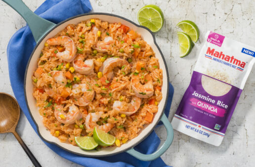 mexican-rice-with-quinoa-and-shrimp-served-with-lemon-wedges
