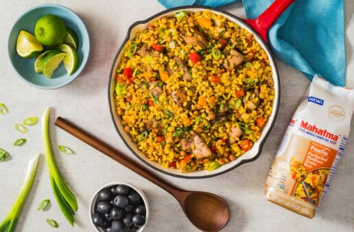 caribbean-jerk-chicken-paella-with-chicken-thighs-and-pigeon-peas