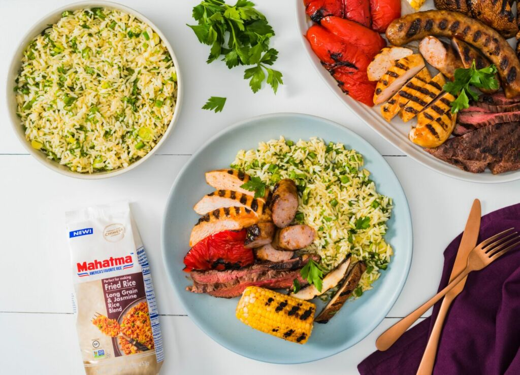 flank-steak-chicken-breasts-chorizo-and-grilled-vegetables-with-chimichurri-rice