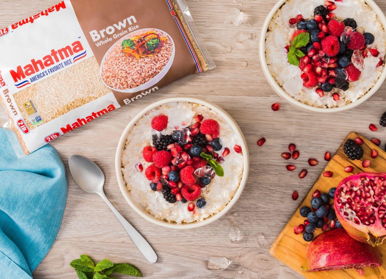 Cereal con arroz integral y frutas