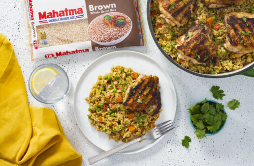 Grilled-Chicken-and-Arroz-Verde-with-brown-rice